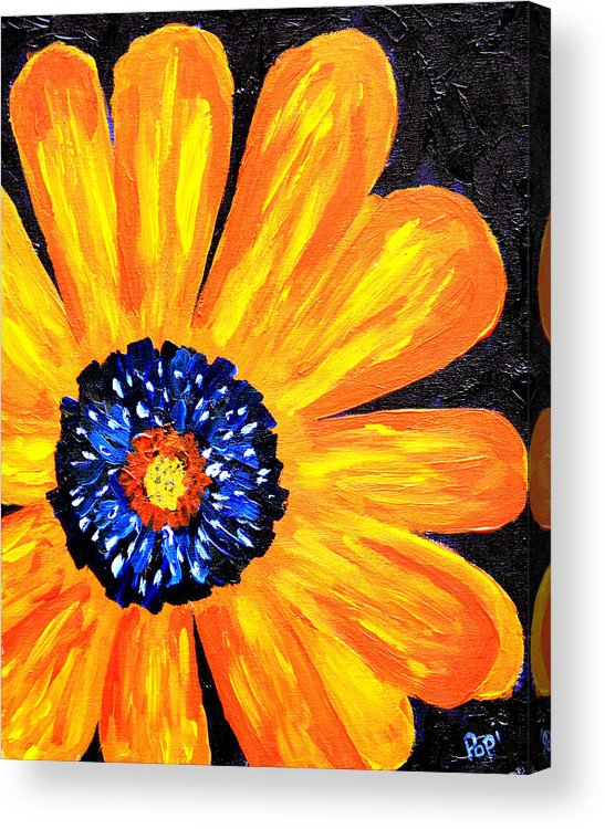 Yellow Acrylic Print featuring the painting Flower Power 2 by Paul Anderson