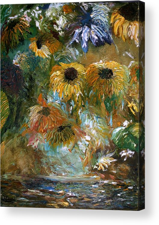 Oil Painting Acrylic Print featuring the painting Flower Rain by Jack Diamond