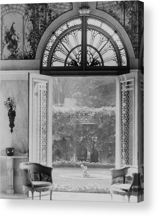Indoors Acrylic Print featuring the photograph French Doors Leading To A Garden by Matsy Wynn Richards