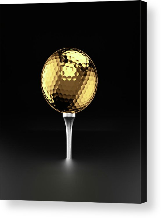 Two Objects Acrylic Print featuring the photograph Golfball And Alluminium Golf Tee by Atomic Imagery