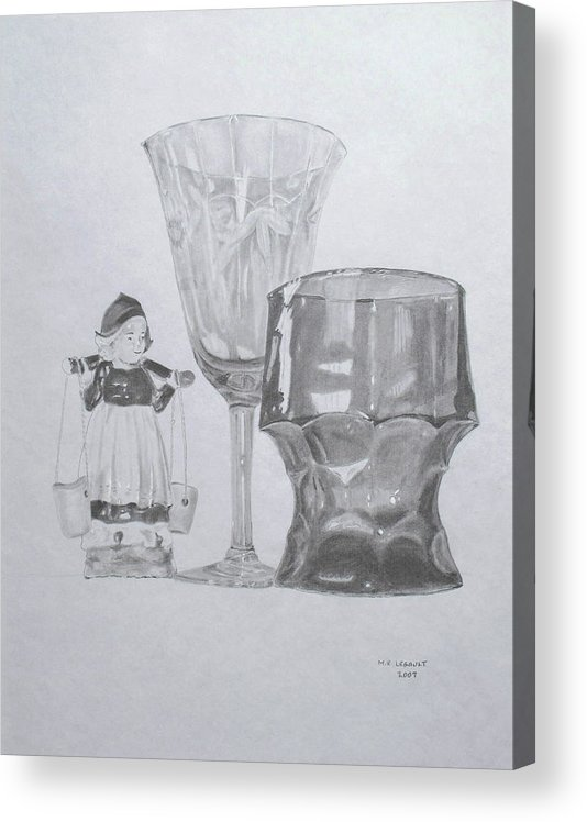 Glassware Acrylic Print featuring the drawing Grammas Glasses by Mary Ellen Mueller Legault