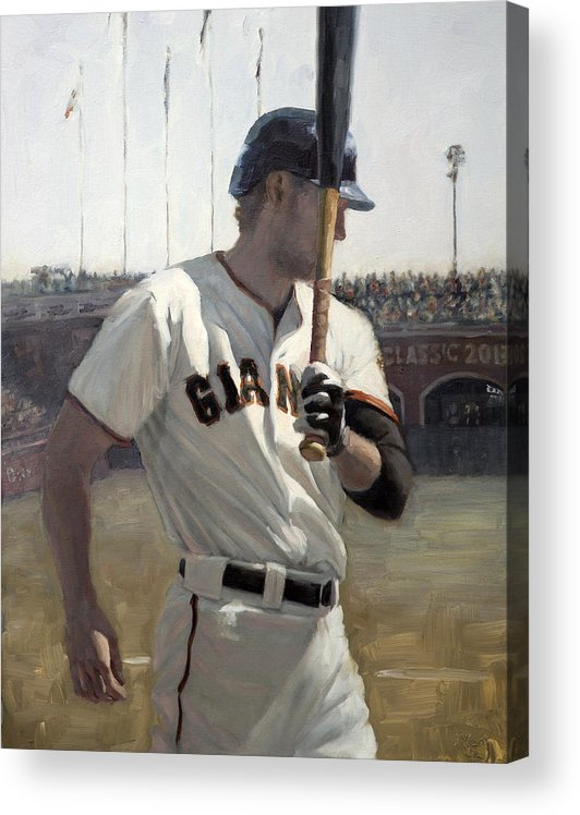 Hunter Pence Acrylic Print featuring the painting Hunter Pence On Deck by Darren Kerr