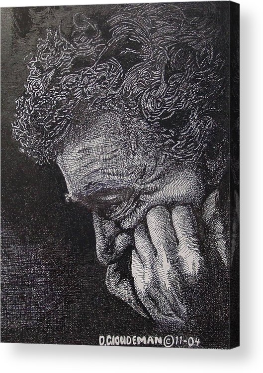 Portraiture Acrylic Print featuring the drawing Introspection by Denis Gloudeman
