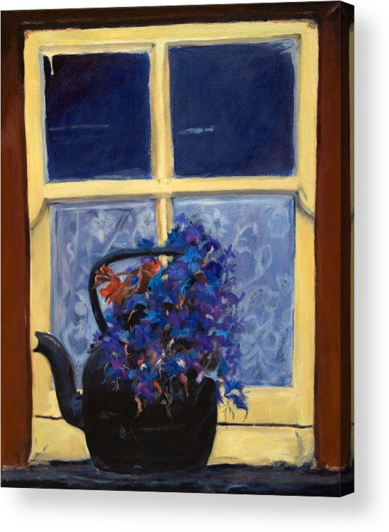 Still Life Acrylic Print featuring the painting Irish Lace and Teapot by Stephanie Allison