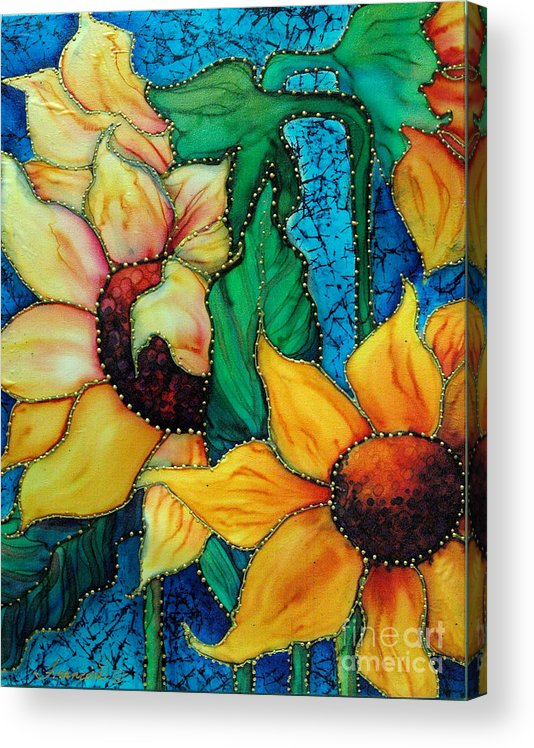 Silk Painting Acrylic Print featuring the painting Jeweled Sassy Sunflowers by Francine Dufour Jones