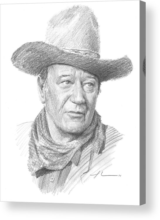 Www.miketheuer.com Acrylic Print featuring the drawing John Wayne Pencil Portrait by Mike Theuer