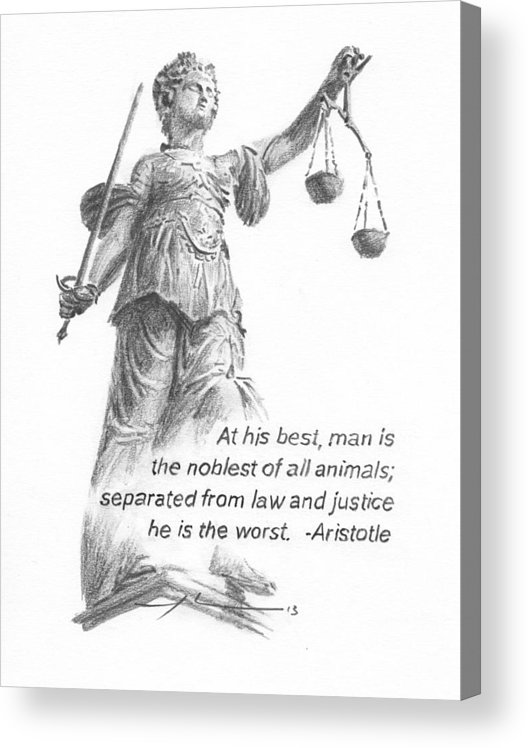 <a Href=http://miketheuer.com Target =_blank>www.miketheuer.com</a> Lady Justice Statue Pencil Portrait Acrylic Print featuring the painting Lady Justice Statue Pencil Portrait by Mike Theuer