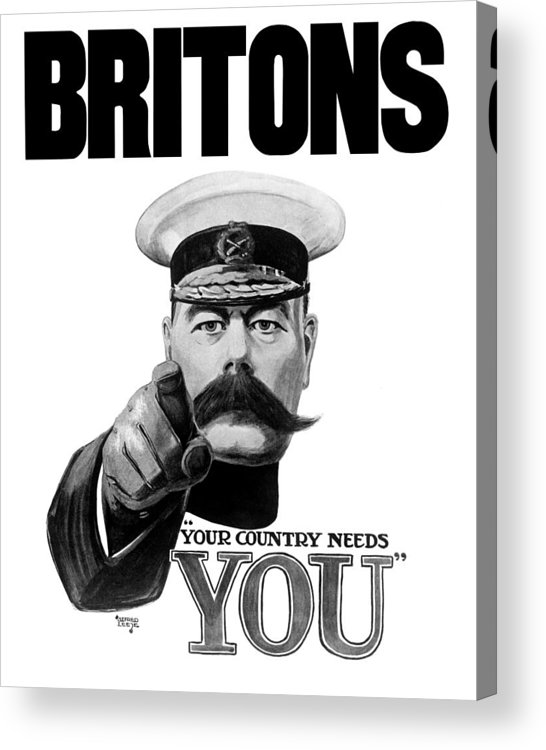 Wwi Acrylic Print featuring the painting Lord Kitchener - Britons Your Country Needs You by War Is Hell Store