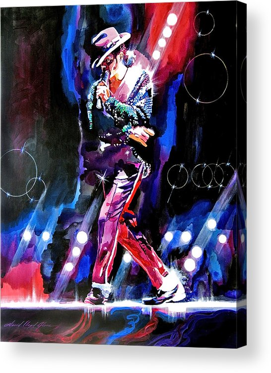 Michael Jackson Acrylic Print featuring the painting Michael Jackson Moves by David Lloyd Glover