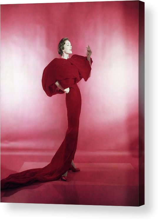 Studio Shot Acrylic Print featuring the photograph Model Wearing Red Evening Dress by Horst P. Horst