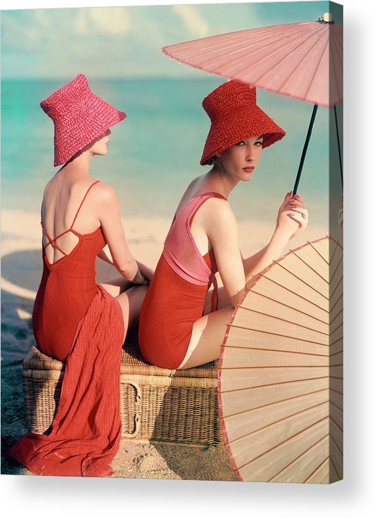 Fashion Acrylic Print featuring the photograph Models At A Beach by Louise Dahl-Wolfe