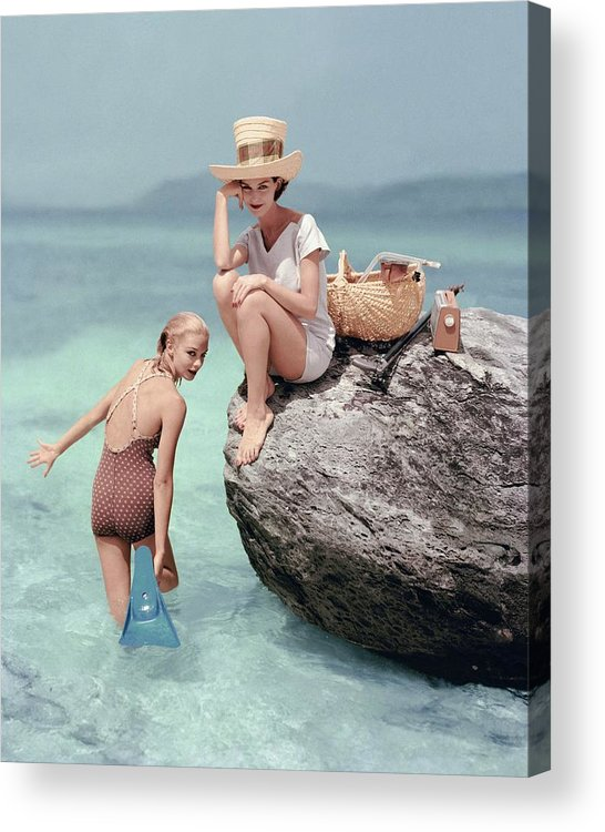 Fashion Acrylic Print featuring the photograph Models At A Beach by Richard Rutledge