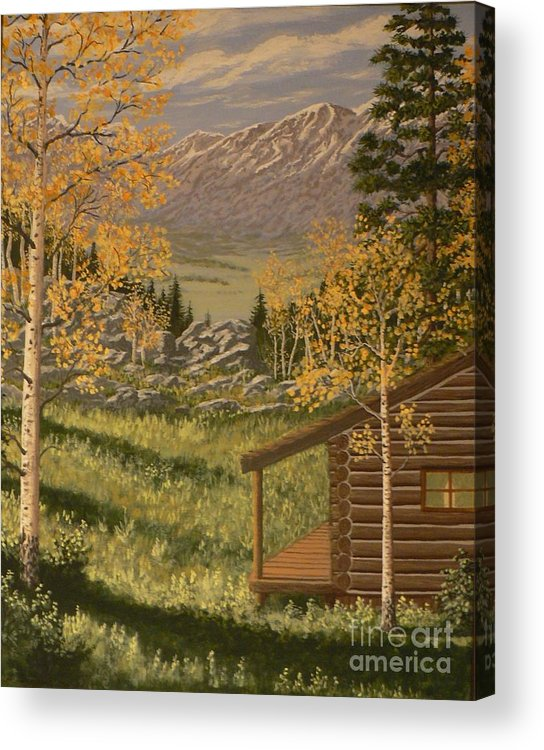 Cabin Acrylic Print featuring the painting Mountain Hideaway by Don Lindemann