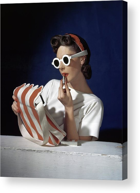 Accessories Acrylic Print featuring the photograph Muriel Maxel Applying Lipstick by Horst P. Horst