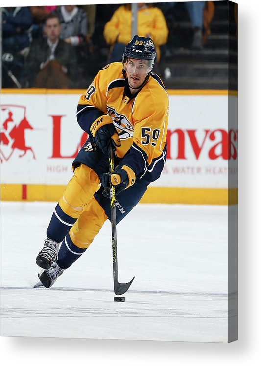 People Acrylic Print featuring the photograph New Jersey Devils V Nashville Predators by John Russell