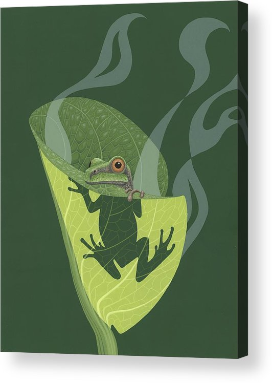 Painting Acrylic Print featuring the painting Pacific Tree Frog in Skunk Cabbage by Nathan Marcy