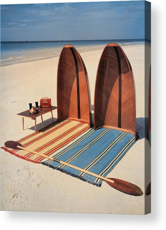 Accessories Acrylic Print featuring the photograph Pixie Collapsible Boat On The Beach by Lois and Joe Steinmetz