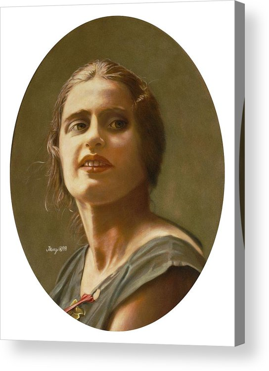Portrait Of Ayn Rand Acrylic Print featuring the painting Portrait of Ayn Rand by Robert Tracy