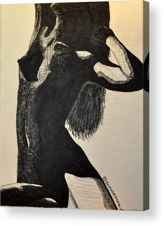 Nude Acrylic Print featuring the drawing Pose by Denis Gloudeman