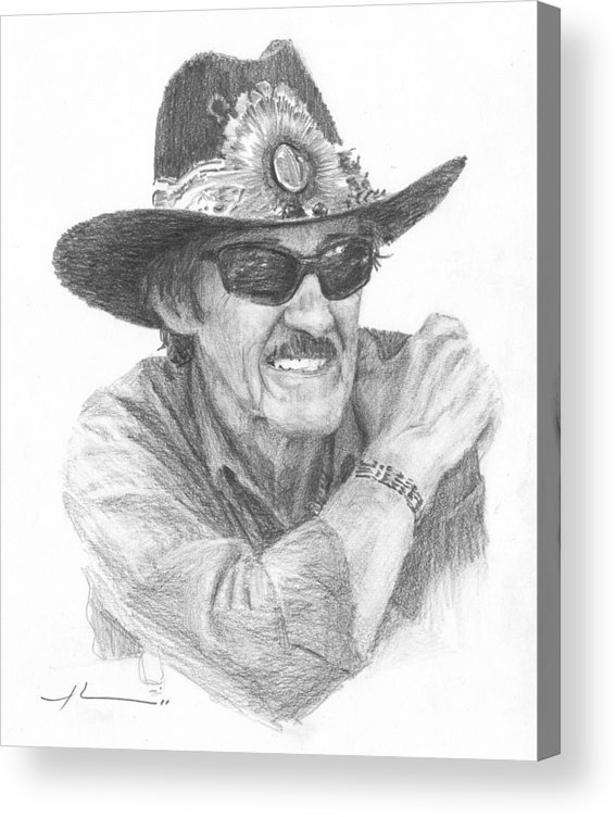 <a Href=http://miketheuer.com Target =_blank>www.miketheuer.com</a> Richard Petty Pencil Portrait Acrylic Print featuring the drawing Richard Petty Pencil Portrait by Mike Theuer