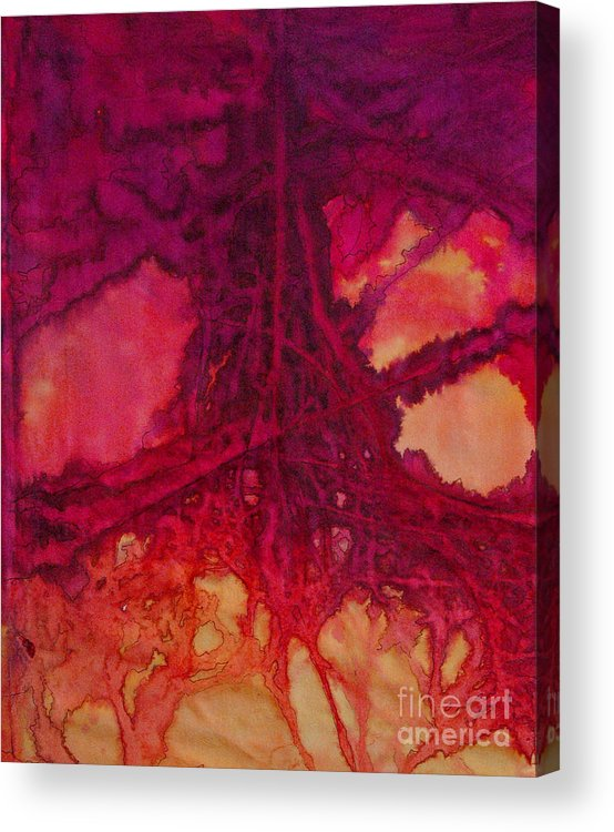Silk Painting Acrylic Print featuring the painting Roots of Passon by Francine Dufour Jones
