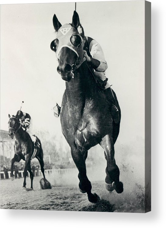 Classic Acrylic Print featuring the photograph Seabiscuit Horse Racing #3 by Retro Images Archive