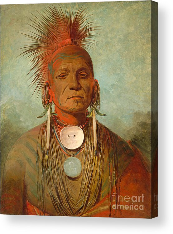 Native; American; Indian; Male; Head; Shoulders; Traditional; Dress; Clothing; Face; Paint; Shaman; Fierce; Proud; Jewellery; Ethnic; Earring; Witch; Doctor; Powerful; Tribal; Tribe; Feathered; Headdress Acrylic Print featuring the painting See non ty a an Iowa Medicine Man by George Catlin