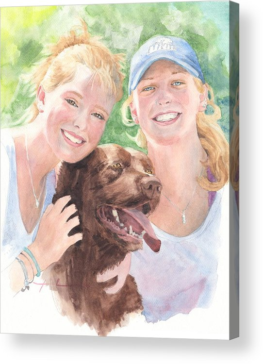 <a Href=http://miketheuer.com Target =_blank>www.miketheuer.com</a> Sisters & Chocolate Lab In Sun Watercolor Portrait Acrylic Print featuring the painting Sisters And Chocolate Lab In Sun Watercolor Portrait by Mike Theuer