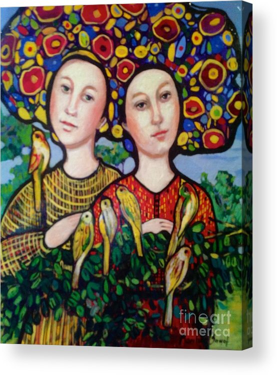 Persian Acrylic Print featuring the painting Sisters With Hats by Marilene Sawaf