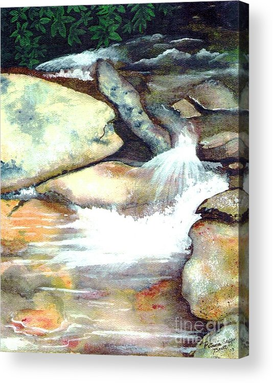Fine Art Acrylic Print featuring the painting Smoky Mountains Waterfall by Patricia Griffin Brett