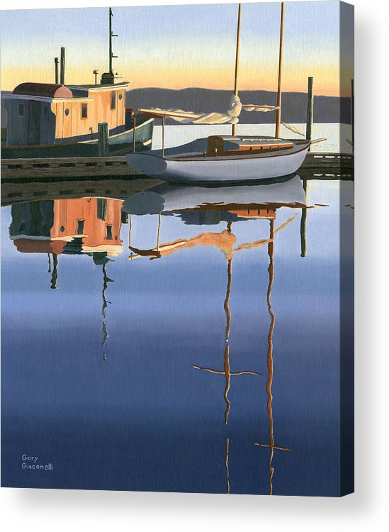 Boat Acrylic Print featuring the painting South harbour reflections by Gary Giacomelli