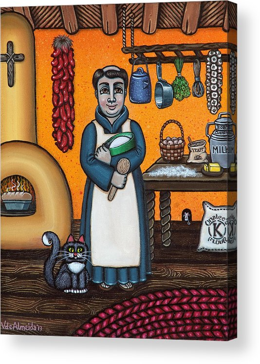 San Pascual Acrylic Print featuring the painting St. Pascual Making Bread by Victoria Jones