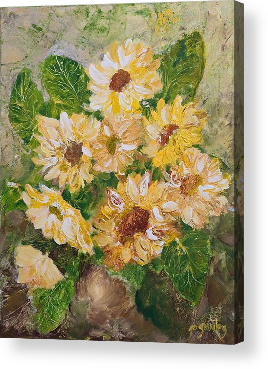 Sunflowers Acrylic Print featuring the painting Sunflowers Forever by Jo Smoley