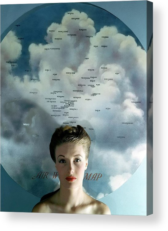Fashion Acrylic Print featuring the photograph Susan Shaw In Front Of An Azimuthal Map by John Rawlings