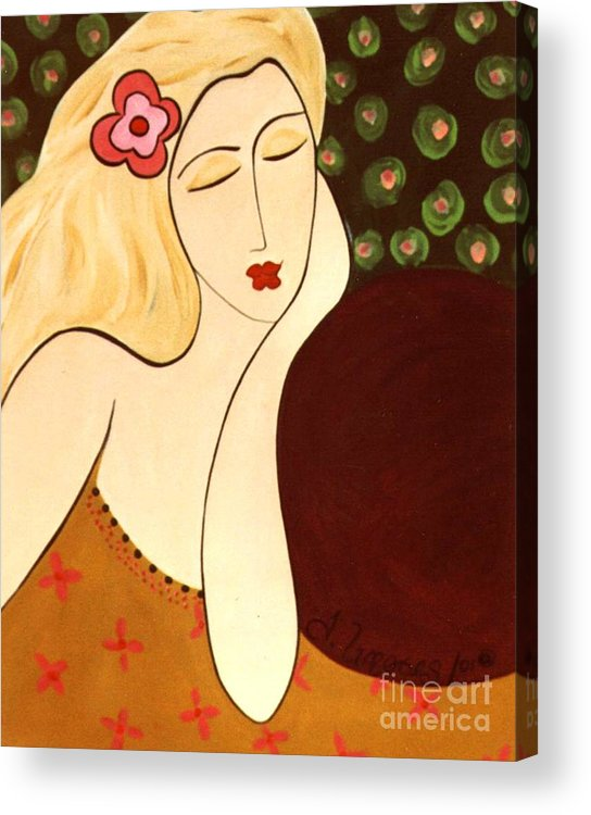 #female #figurative #floral Acrylic Print featuring the painting Sweet Sixteen by Jacquelinemari