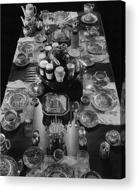 Interior Acrylic Print featuring the photograph Table Settings On Dining Table by The 3