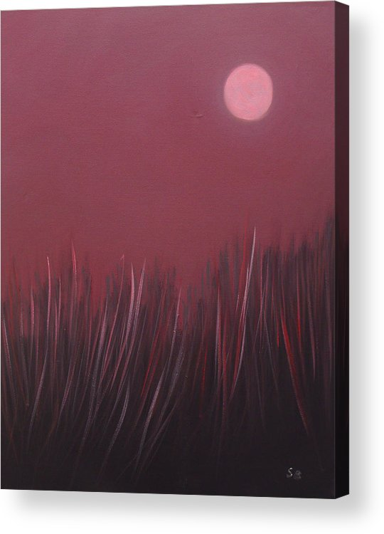 Landscape Acrylic Print featuring the painting The dusk by Sergey Bezhinets