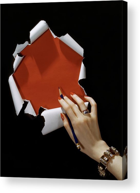 Jewelry Acrylic Print featuring the photograph The Hand Of A Woman Reaching Towards Torn by Horst P. Horst