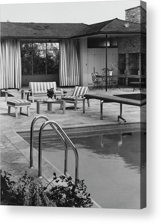 Architecture Acrylic Print featuring the photograph The Pool And Pavilion Of A House by Sharland
