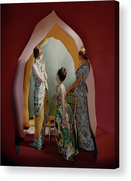 Accessories Acrylic Print featuring the photograph Three Models Wearing Patterned Dresses by Cecil Beaton