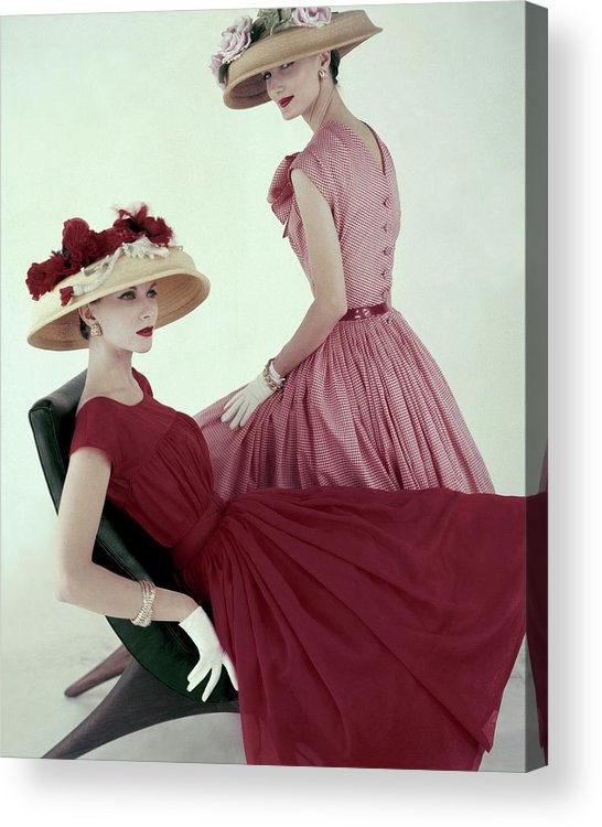 Fashion Acrylic Print featuring the photograph Two Models Wearing Red Dresses by Karen Radkai