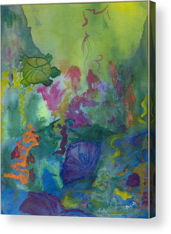 Vibrant Acrylic Print featuring the painting Under the Sea by Phoenix Simpson