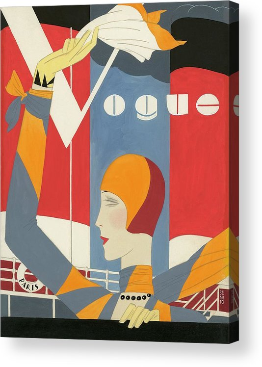 Fashion Acrylic Print featuring the digital art Vogue Cover Illustration Of Woman Waving by Eduardo Garcia Benito