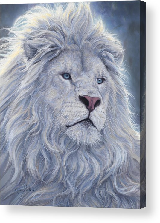 White Lion Acrylic Print featuring the painting White Lion by Lucie Bilodeau