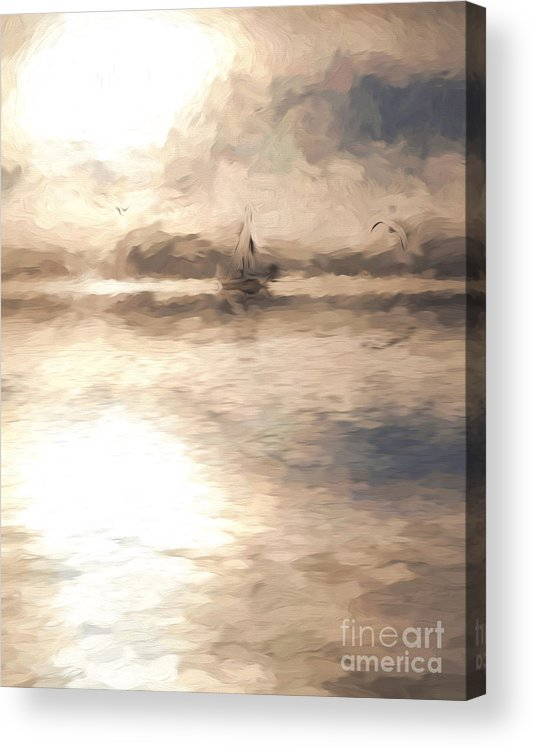 Yacht Acrylic Print featuring the photograph Yacht in mist at Bay of Plenty by Sheila Smart Fine Art Photography