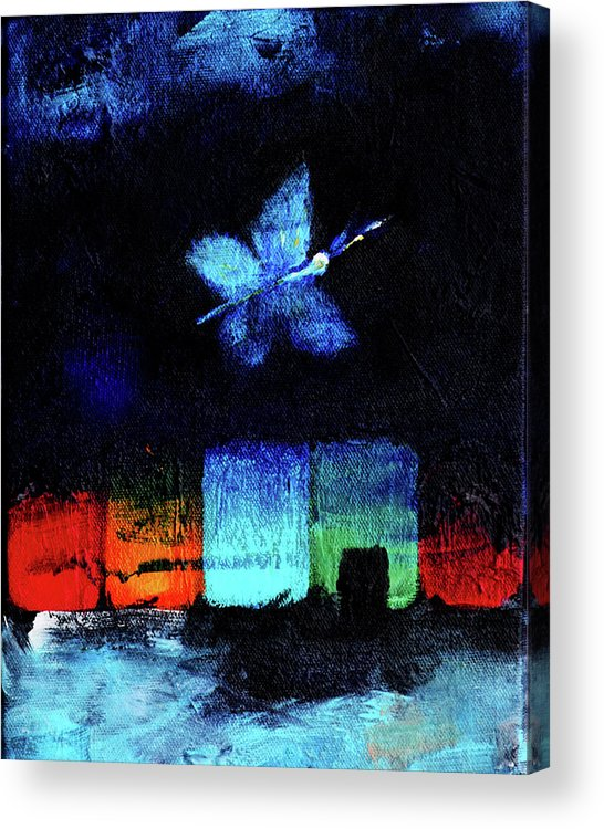 Night Acrylic Print featuring the painting Midsummer Wings 1 by Noga Ami-rav