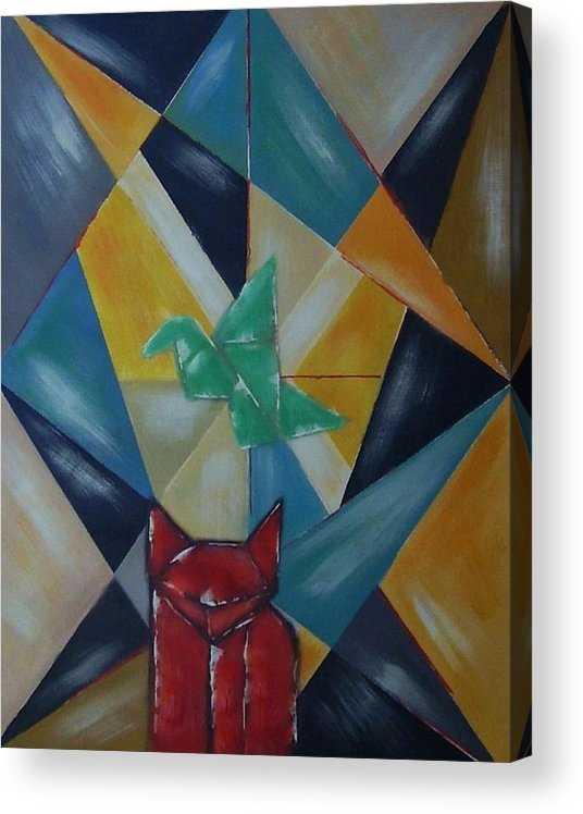 Abstract Acrylic Print featuring the painting Cat and bird by Joseph Ferguson
