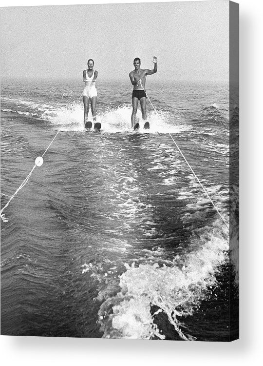 Adult Acrylic Print featuring the photograph Couple Water Skiing by George Marks