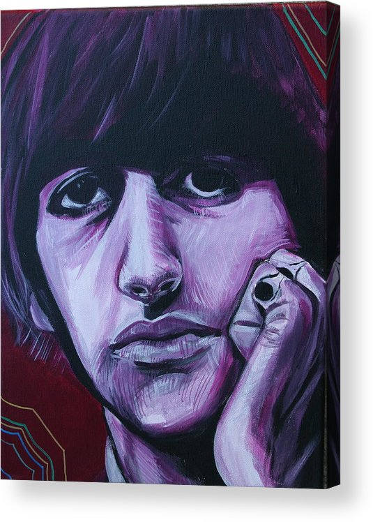 Beatles Acrylic Print featuring the painting Ringo Star by Kate Fortin