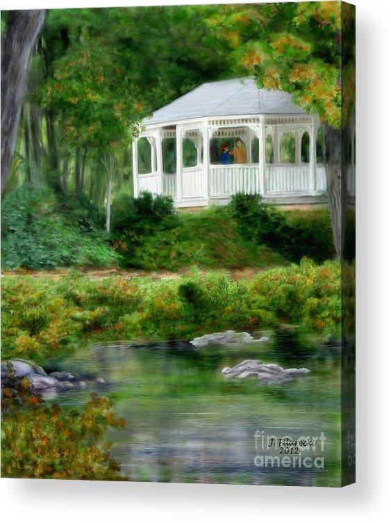 Riverside Acrylic Print featuring the painting Riverside Gazebo by Judy Filarecki